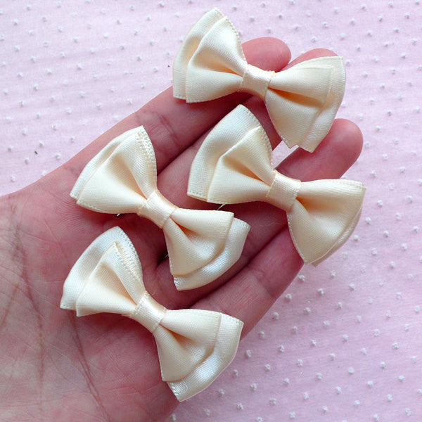 Satin Bows / Satin Fabric Bow Ties / Double Ribbon Bowties (4pcs / 43mm x 25mm / Cream White) Wedding Supply Applique Hair Bow Making B009