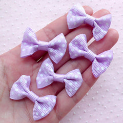 Polka Dot Grosgrain Ribbon Bow Ties / Kawaii Bowties / Fabric Bow Applique (5pcs / 35mm x 25mm / Purple & White) Baby Shower Party Deco B013
