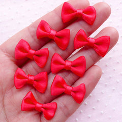 CLEARANCE Satin Ribbon Bowties / Tiny Fabric Bow Ties (8pcs / 20mm x 12mm / Light Red) Hair Accessory Supply Wedding Decoration Scrapbook Sewing B021