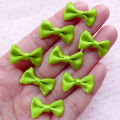 Satin Ribbon Bowties / Little Fabric Bows (8pcs / 20mm x 12mm / Spring Green) Cell Phone Deco Party Supplies Sewing Jewellery Making B026