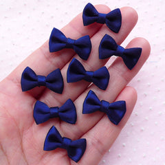 CLEARANCE Little Satin Ribbon Bow Ties / Small Fabric Bows (8pcs / 20mm x 12mm / Navy Blue) Hairbow Making DIY Invitation Card Embellishment B027