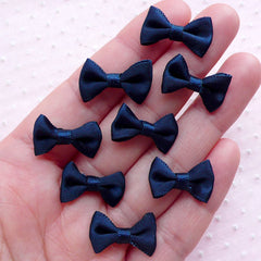 Satin Bows / Small Fabric Ribbon Bow Ties (8pcs / 20mm x 12mm / Dark Navy Blue) Wedding Party Decoration Card Making Packaging Sewing B031