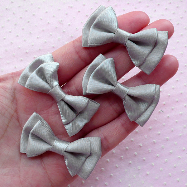 CLEARANCE Double Bows / Satin Ribbon Bowties / Fabric Bow Ties (4pcs / 43mm x 25mm / Grey / Gray) Wedding Decoration Sewing Hair Accessories DIY B006