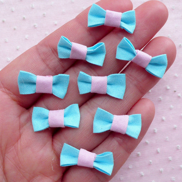 Tiny Bow Ties / Cute Mini Bows / Kawaii Fabric Bowties (8pcs / 20mm x 10mm / Blue) Baby Shower Invitation Card Making Embellishment B033