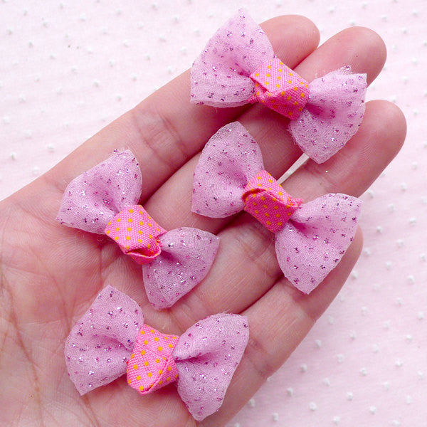 Mesh Bow Ties with Glitter / Tulle Fabric Bows / Gauze Ribbon (4pcs / 32mm x 20mm / Pink) Fairy Kei Hair Clip Making Packaging Supplies B037