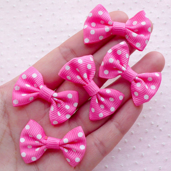 Grosgrain Ribbon Bows / Polka Dot Bow Ties / Fabric Bowtie Applique (5pcs / 35mm x 25mm / Dark Pink & White) Baby Shower DIY Hair Bow B012