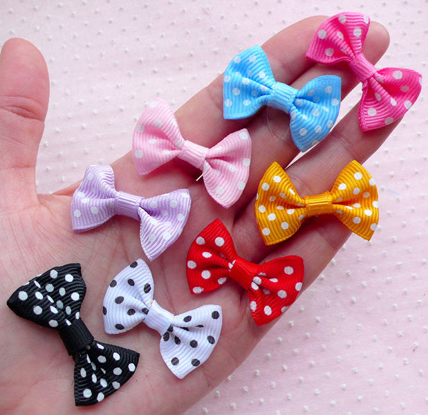 Grosgrain Ribbon Bowties / Polka Dot Bows / Fabric Bow Tie Applique (8pcs / 35mm x 25mm / Mix) Baby Shower Hair Bow DIY Embellishment B043