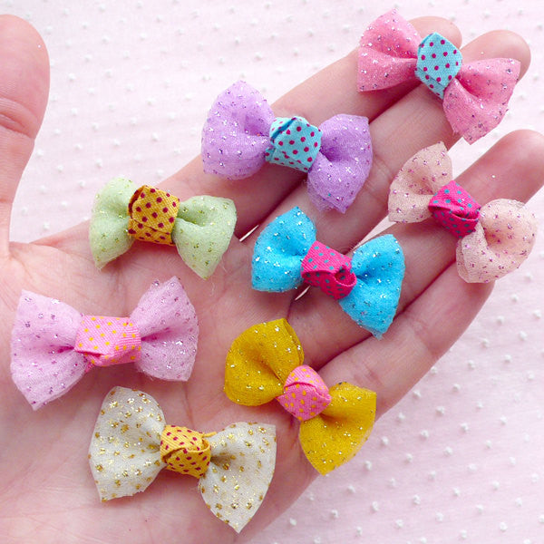 Tulle Bowties with Glitter / Gauze Bows / Mesh Fabric Ribbon Bow Ties (8pcs / 32mm x 20mm / Mix) Fairy Kei Hairbow Making Embellishment B045