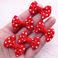 Red Bow Ties / Polka Dot Bows / Grosgrain Ribbon Bowtie Applique (5pcs / 35mm x 25mm / Red & White) Baby Hair Accessories DIY Scrapbook B016