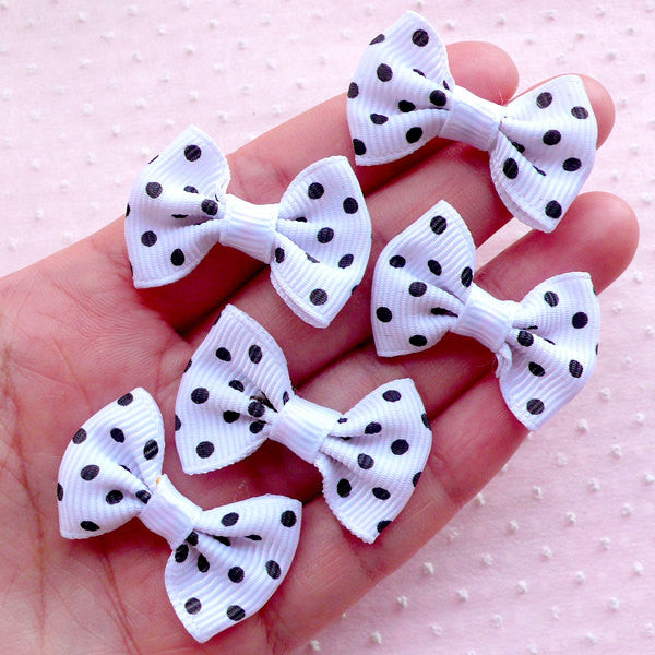 Grosgrain Ribbon Polka Dot Bows / White Bowtie Applique / Cute Bow Ties (5pcs / 35mm x 25mm / White & Black) DIY Baby Headband Sewing B017