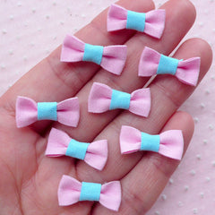 Kawaii Mini Bows / Cute Bow Ties / Tiny Fabric Bowties (8pcs / 20mm x 10mm / Pink) Scrapbooking Baby Hair Clip Making Packaging Supply B034