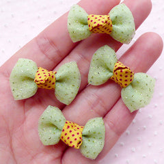 Gauze Bow Ties with Glitter / Mesh Bows / Tulle Fabric Ribbon (4pcs / 32mm x 20mm / Green) Hair Bow Making Sewing Party Decoration B035