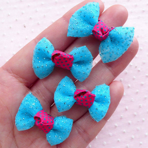Gauze Fabric Ribbon with Glitter / Mesh Fabric Bow Ties / Tulle Bows (4pcs / 32mm x 20mm / Blue) Bow Applique Decora Hair Accessories B042