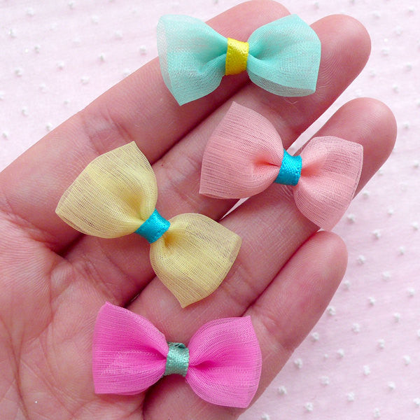 Mesh Bowties / Small Gauze Bows / Tulle Fabric Ribbon Bow Ties (4pcs / 28mm x 16mm / Mix) Wedding Supplies Party Decoration Fairy Kei B044