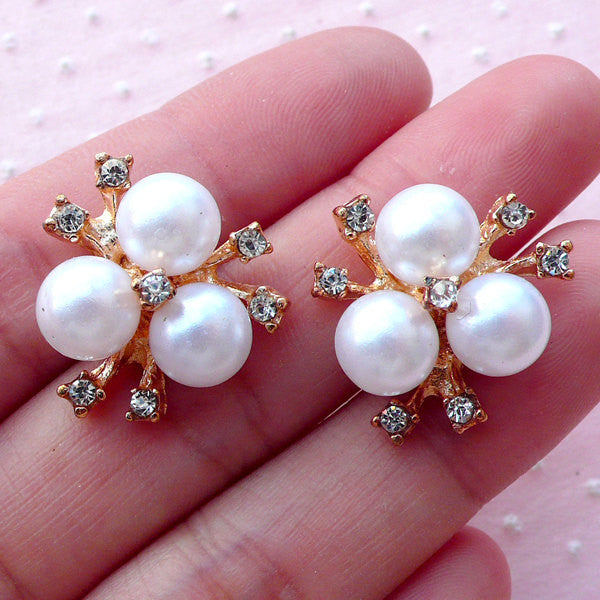 Hair Bow Centers with White Pearl and Clear Rhinestones (2pcs / 19mm x 21mm / Gold) Brooch Hair Bow Making Wedding Jewelry Decoden CAB457