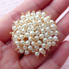 Hair Bow Center with Cream White Pearl & Champagne Seed Bead (1 piece / 36mm) Wedding Hair Accessory Brooch Headband Hairclip DIY CAB460