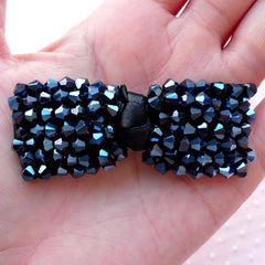 Fabric Bow with Metallic Black Bicone Beads / Grosgrain Ribbon Bowtie (1 piece / 65mm x 25mm) Brooch DIY Hairclip Hair Bow Making B048