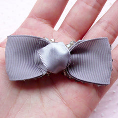Fabric Bowtie with Grey Bicone Beads / Grosgrain Ribbon Bow Tie  (1 pc / 65mm x 25mm / Gray) Sewing Supply Embellishment DIY Brooch B049