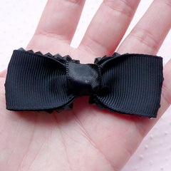 Grosgrain Ribbon Bowtie with Black Bicone Beads / Fabric Bow (1 piece / 65mm x 25mm) Hairband Ponytail Holders DIY Hair Tie Making B051