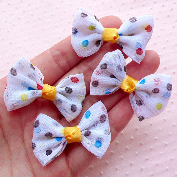Colorful Polka Dot Bow Tie / Fabric Chiffon Bowties Applique (4pcs / 40mm x 30mm / White) Baby Headband Hair Bow Accessories Making B055