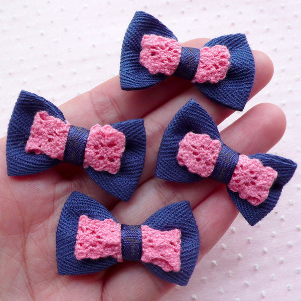 Dark Blue Bows with Lace Ribbon / Cute Fabric Bow Tie Applique (4pcs / 38mm x 24mm) Brooch Child Hair Clip Hairband DIY Card Making B058