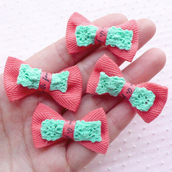 Cute Bows with Lace Ribbon / Kawaii Fabric Bowtie Applique (4pcs / 38mm x 24mm / Congo Pink) Baby Hairclip Hair Accessory DIY Scrapbook B059