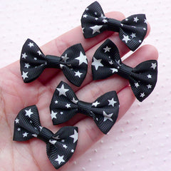 Star Grosgrain Ribbon Bows / Cute Bow Ties Applique / Fabric Bowties (5pcs / 35mm x 24mm / Black) Embellishment Card Making Packaging B063
