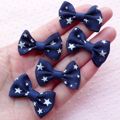 Cute Grosgrain Ribbon with Star Pattern / Kawaii Bow Ties / Fabric Bow Applique (5pcs / 35mm x 24mm / Navy Blue) Party Decoration B065