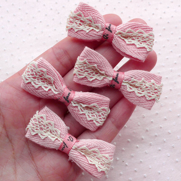 Pink Bows with Lace Ribbon / Kawaii Fabric Bowties Applique (4pcs / 48mm x 20mm) Headband Hair Tie Hairclip Making Lovely Card Making B054