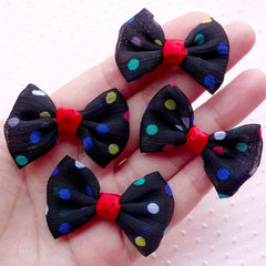 CLEARANCE Polka Dot Bows / Fabric Bowtie / Chiffon Bow Ties Applique (4pcs / 40mm x 30mm / Black) Baby Hair Band Hairbow Hair Tie Accessory DIY B056