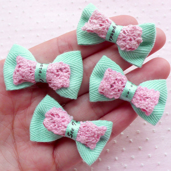 Kawaii Bows with Lace Ribbon / Bowtie Applique / Fabric Bow Tie (4pcs / 38mm x 24mm / Baby Blue) Fairy Kei Hair Jewelry Sewing Supplies B060