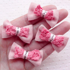 Baby Pink Bow Ties with Lace Ribbon / Kawaii Bowtie Applique / Fabric Bows (4pcs / 38mm x 24mm) DIY Hair Band Baby Shower Favor Decor B061