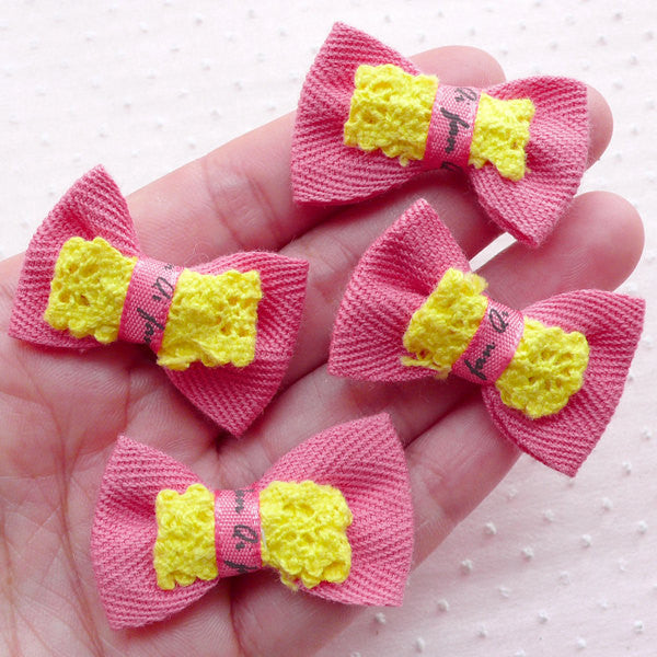 Pink Bowties with Lace Ribbon / Kawaii Bow Ties / Fabric Applique (4pcs / 38mm x 24mm) DIY Hairbow Hair Tie Packaging Embellishment B062