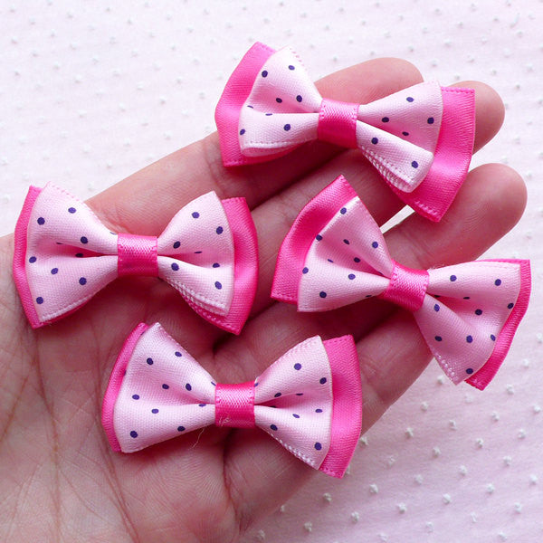 CLEARANCE Pink Satin Ribbon Bows with Polka Dot / Double Ribbon Bowties / Fabric Bow Ties (4pcs / 40mm x 25mm) Baby Headband Hair Band Making B066