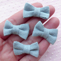Denim Cotton Fabric Bows / Jean Bow Ties / Bowties Applique (4pcs / 27mm x 18mm / Light Blue) Baby Hair Bow Accessories Headband Making B068