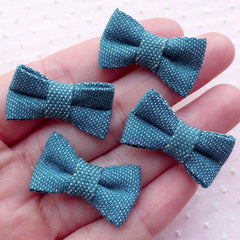 Denim Bow Ties / Jean Cotton Fabric Bowties / Bow Applique (4pcs / 27mm x 18mm / Blue) Baby Hair Accessories Hairclip Hair Band Making B069