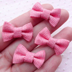 Denim Fabric Bowties with Glitter / Jean Cotton Bows / Bow Tie Applique (4pcs / 27mm x 17mm / Pink) Baby Hair Clip Hair Tie Making B070