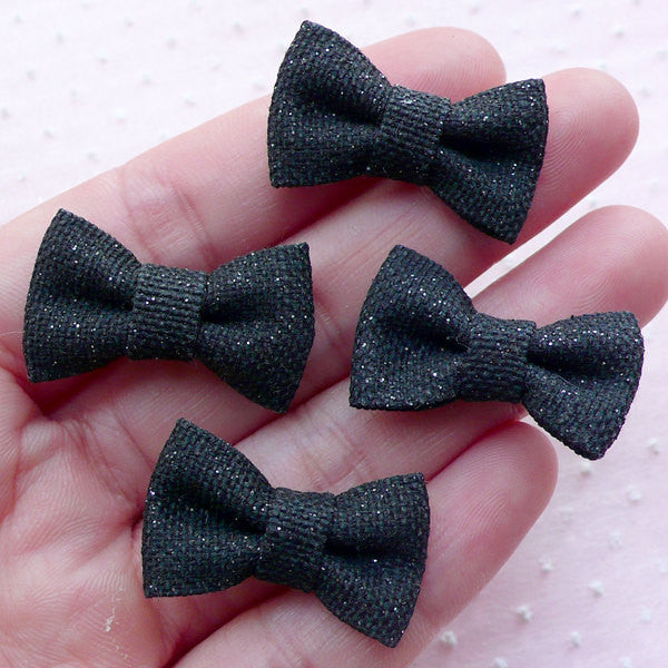 Denim Bows with Glitter / Jean Bowtie Applique / Fabric Bow Ties (4pcs / 27mm x 17mm / Black) Hairbow Hairband Hair Accessory Making B071