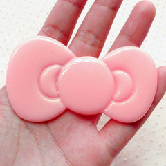 Large Bow Tie Cabochon Jumbo Big Bowtie Cabochon (79mm x 46mm / Light Pink / Flatback) Sweet Lolita Decoden Cabochon Kawaii Supplies CAB048