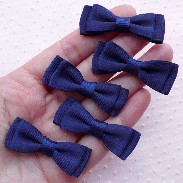 Navy Blue Bow Ties / Fabric Bowties Applique / Double Grosgrain Ribbon Bows (5pcs / 40mm x 15mm) Party Supply Gift Packaging Scrapbook B085