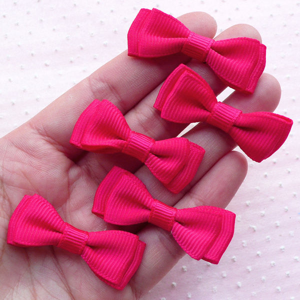 Double Bow Ties / Fabric Bows Applique / Grosgrain Ribbon Bowties (5pcs / 40mm x 15mm / Dark Pink) Party Decor Hair Accessories Making B086