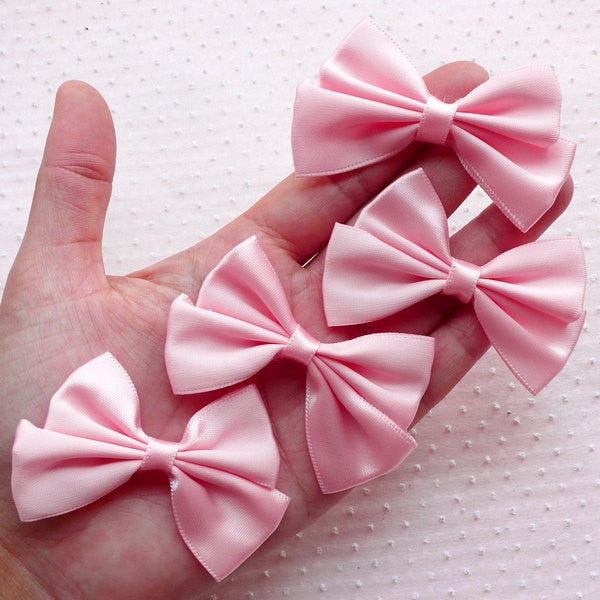 Pink Satin Ribbon / Fabric Bow Applique (4pcs / 65mm x 45mm) Headband Hair Band DIY Baby Shower Card Making Gift Packaging Favor Decor B087