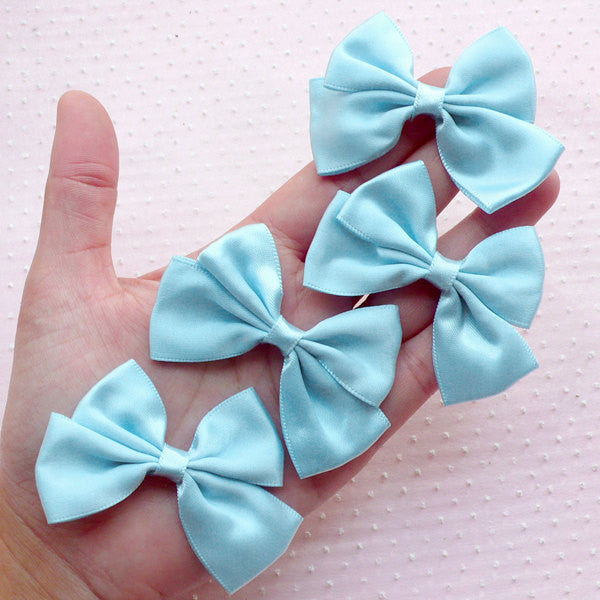Pastel Blue Satin Ribbon / Fabric Bow Applique (4pcs / 65mm x 45mm) Fairy Kei Hairbow Baby Shower Invitation Card Making Embellishment B089
