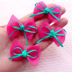 Kawaii Bows with Ribbon / Gauze Fabric Bow Ties / Bow Applique (4pcs / 45mm x 32mm / Magenta Pink) Hairbow Hair Clip DIY Card Making B078