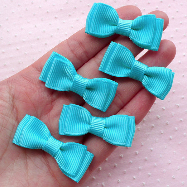 CLEARANCE Grosgrain Ribbon Bows / Double Bow Tie / Fabric Bowties Applique (5pcs / 40mm x 15mm / Blue) Baby Boy Shower Decoration Hairbow Making B081