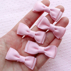 Grosgrain Ribbon Bow Ties / Double Bowties / Fabric Bows Applique (5pcs / 40mm x 15mm / Pink) Baby Girl Shower Decoration DIY Hair Clip B082