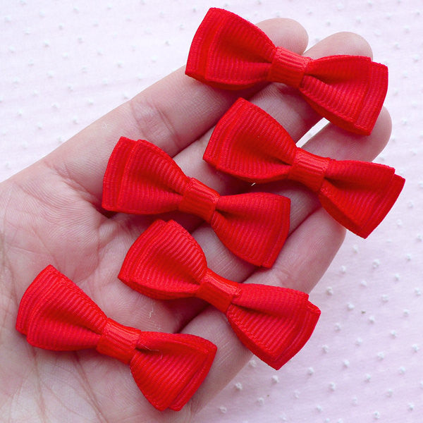 Double Bows / Fabric Bow Ties Applique / Grosgrain Ribbon Bowties (5pcs / 40mm x 15mm / Red) Wedding Invitation Card Making Favor Decor B084