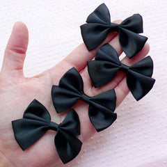 Black Satin Ribbon / Fabric Bow Applique (4pcs / 65mm x 45mm) Hair Bow Hairclip DIY Wedding Party Card Making Favor Packaging Sewing B088