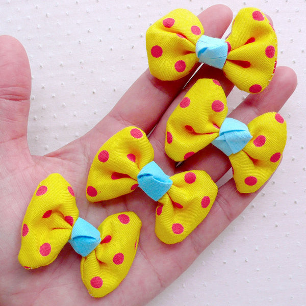Polka Dot Bowties / Cotton Fabric Bow Ties / Bows Applique (4pcs / 50mm x 35mm / Yellow) Baby Hair Clip DIY Hair Accessory Scrapbooking B091