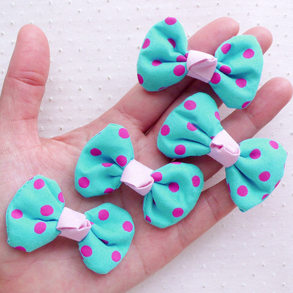 Kawaii Bows in Polka Dot Pattern / Cotton Bowties / Fabric Bow Ties Applique (4pcs / 50mm x 35mm / Blue) Baby Shower Party Decoration B093